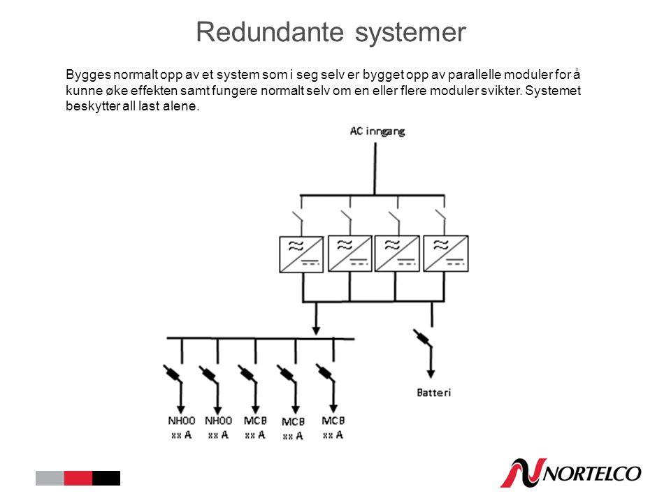 Redundante systemer Bygges normalt opp av et system som i seg selv er bygget opp av parallelle moduler for å kunne øke effekten samt fungere normalt selv om en eller flere moduler svikter.