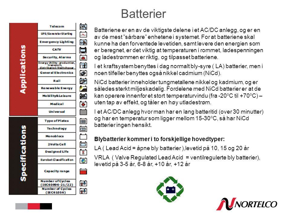 Batterier Batteriene er en av de viktigste delene i et AC/DC anlegg, og er en av de mest sårbare enhetene i systemet.