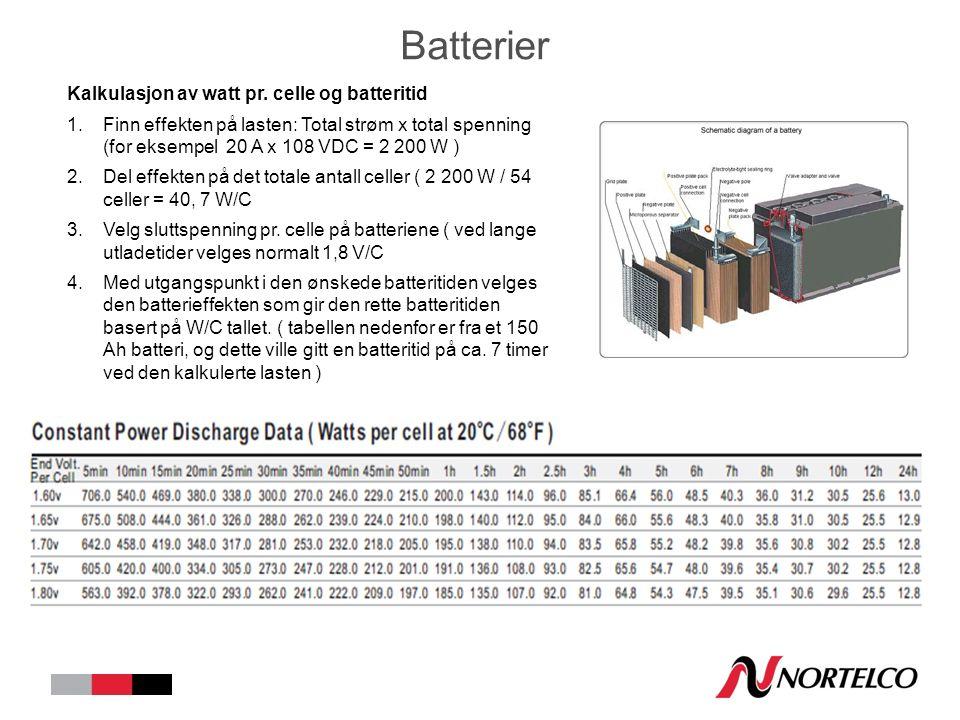 Batterier Kalkulasjon av watt pr.
