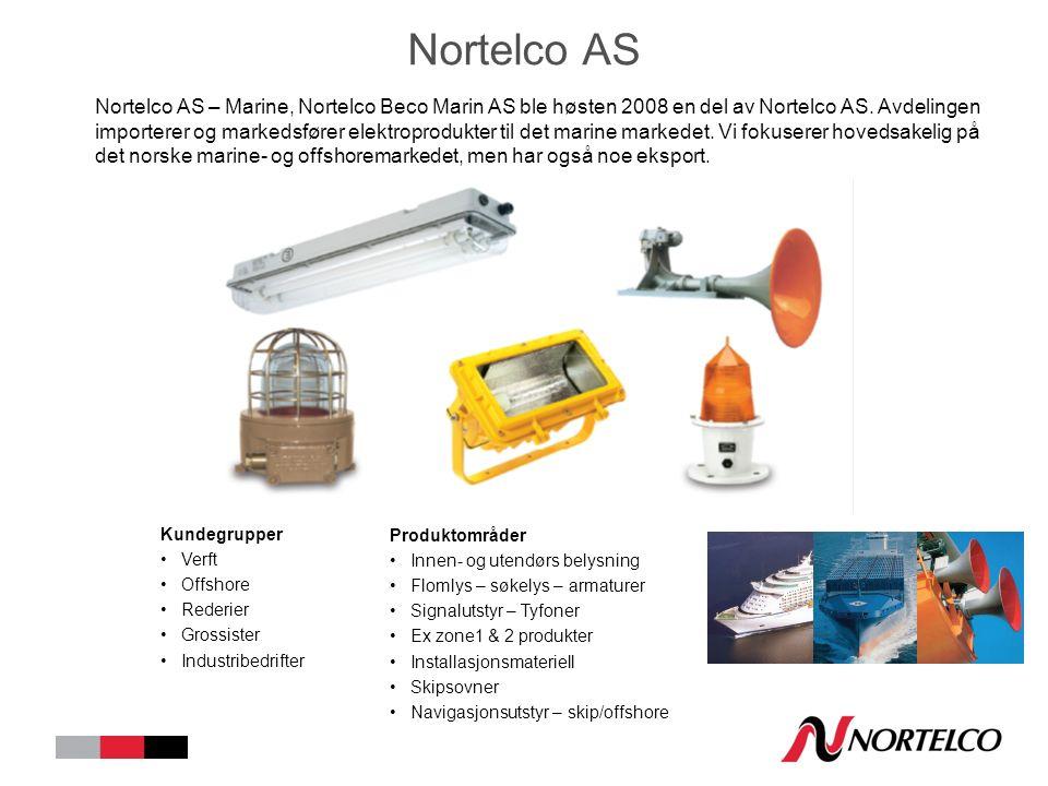 Nortelco AS Nortelco AS – Marine, Nortelco Beco Marin AS ble høsten 2008 en del av Nortelco AS. Avdelingen importerer og markedsfører elektroprodukter