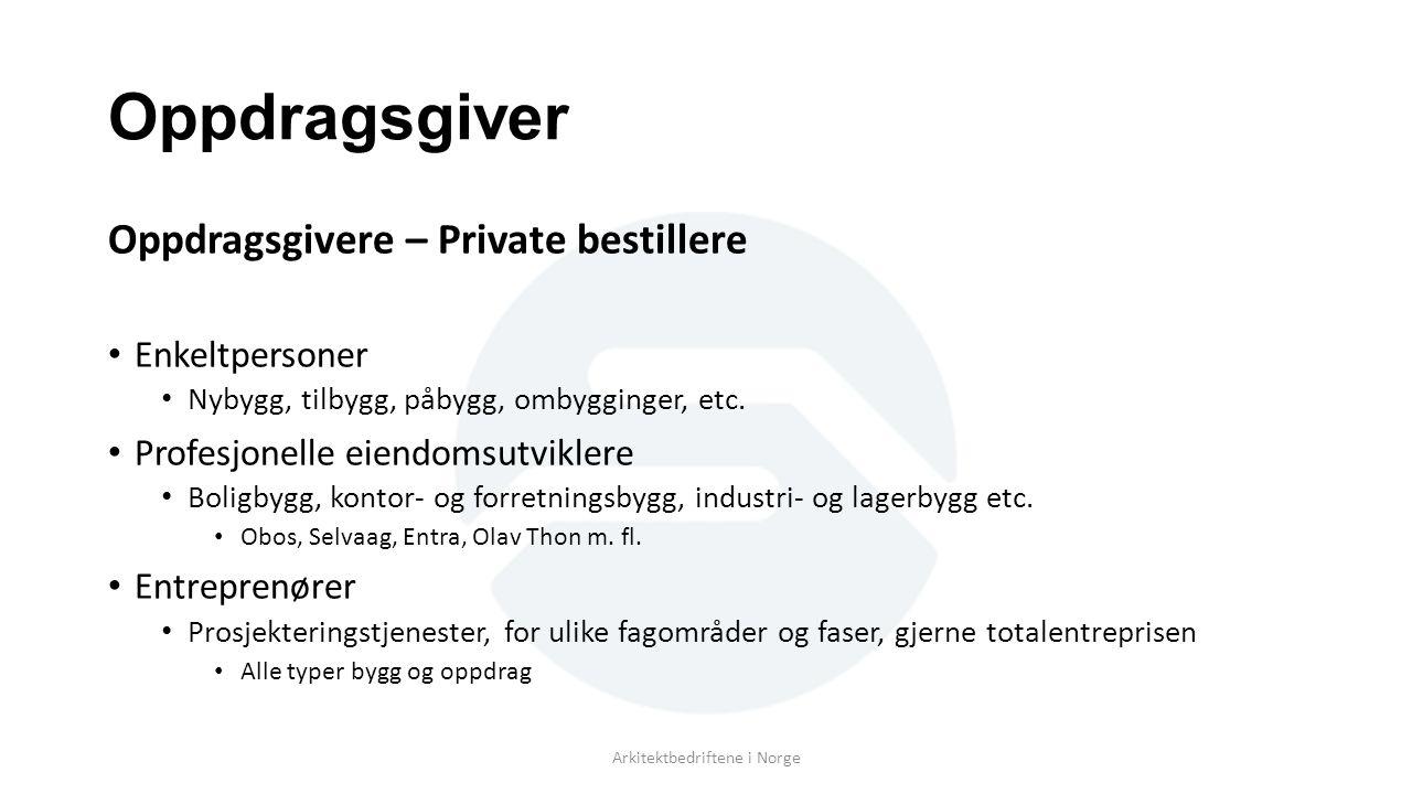 Oppdragsgiver Oppdragsgivere – Private bestillere Enkeltpersoner Nybygg, tilbygg, påbygg, ombygginger, etc.