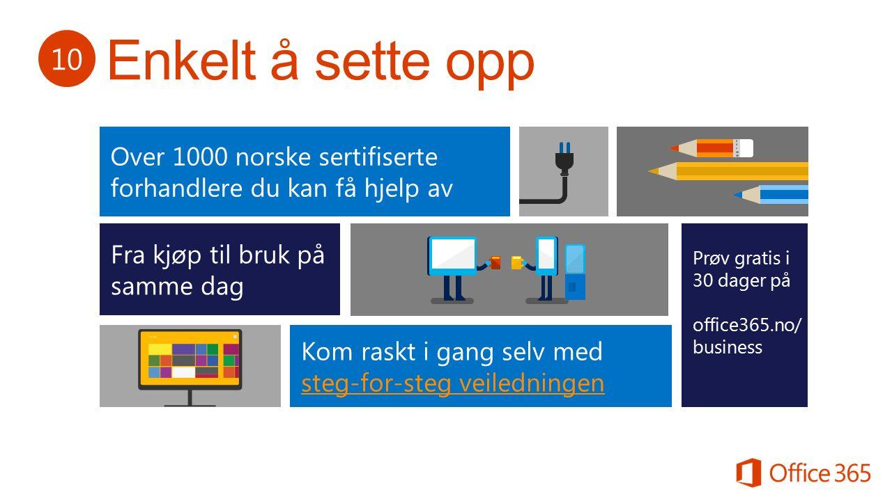 Over 1000 norske sertifiserte forhandlere du kan få hjelp av Fra kjøp til bruk på samme dag Kom raskt i gang selv med steg-for-steg veiledningen steg-