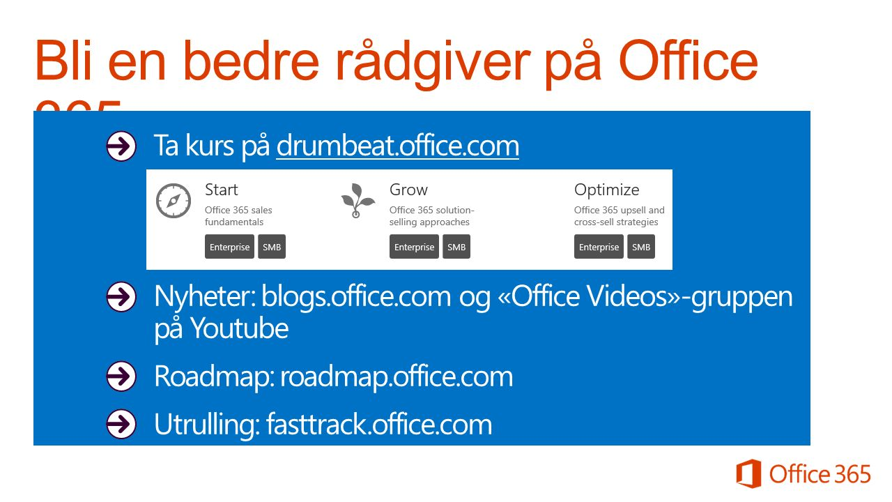 Ta kurs på drumbeat.office.com Nyheter: blogs.office.com og «Office Videos»-gruppen på Youtube Roadmap: roadmap.office.com Utrulling: fasttrack.office