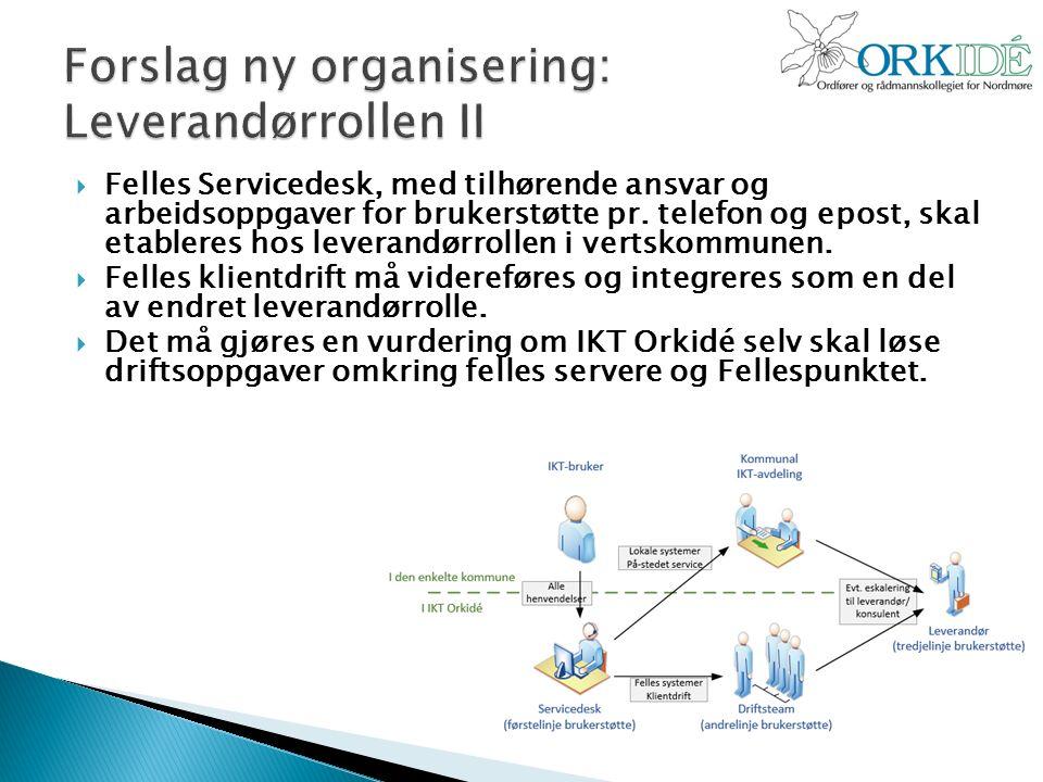  Felles Servicedesk, med tilhørende ansvar og arbeidsoppgaver for brukerstøtte pr.
