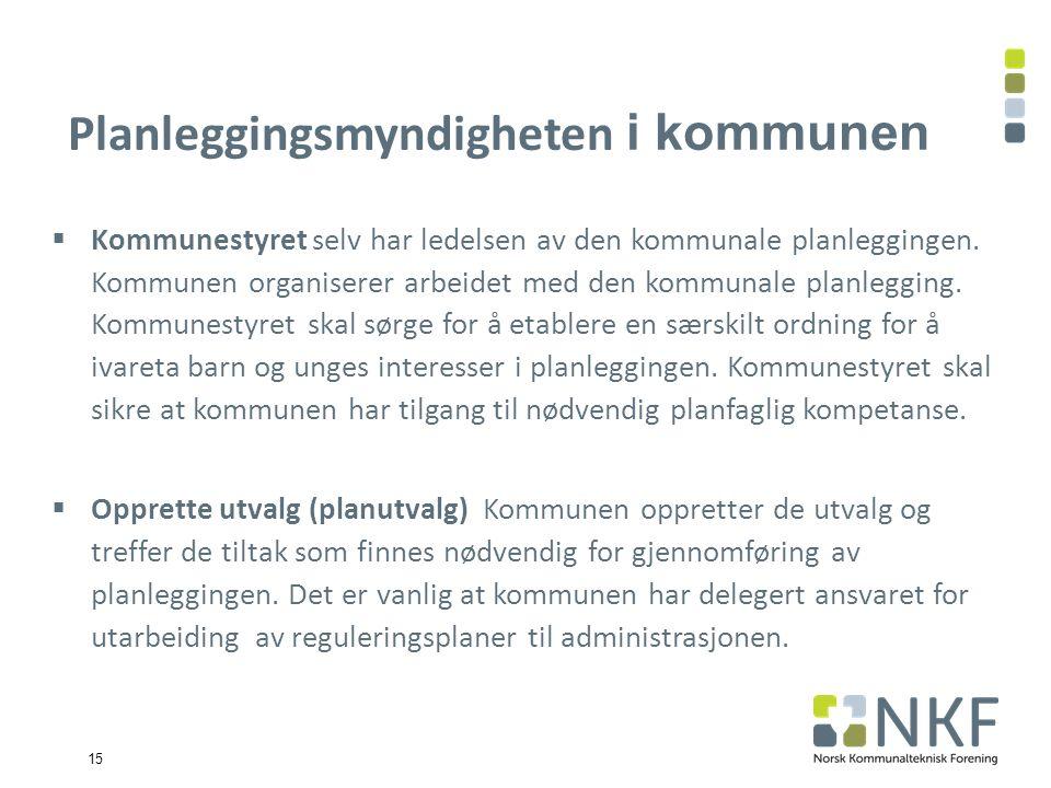 15 Planleggingsmyndigheten i kommunen  Kommunestyret selv har ledelsen av den kommunale planleggingen.