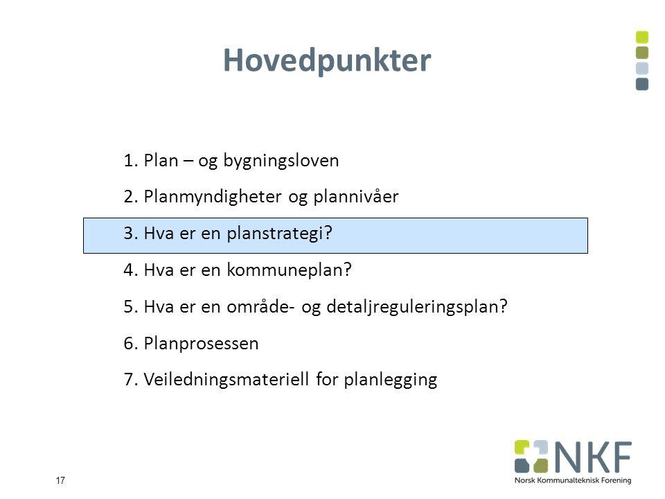 17 1. Plan – og bygningsloven 2. Planmyndigheter og plannivåer 3.