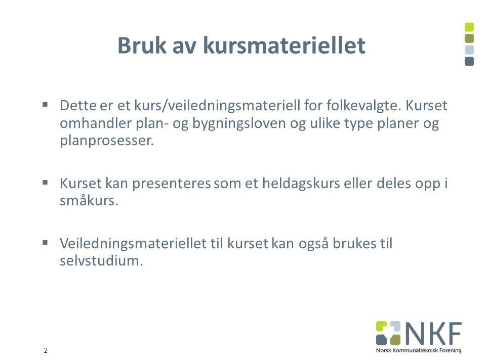 3 Hovedpunkter 1.Plan – og bygningsloven 2. Planmyndigheter og plannivåer 3.