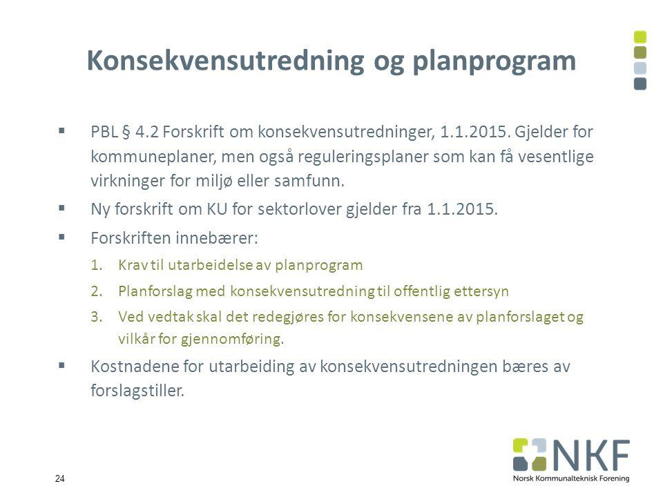24 Konsekvensutredning og planprogram  PBL § 4.2 Forskrift om konsekvensutredninger, 1.1.2015.