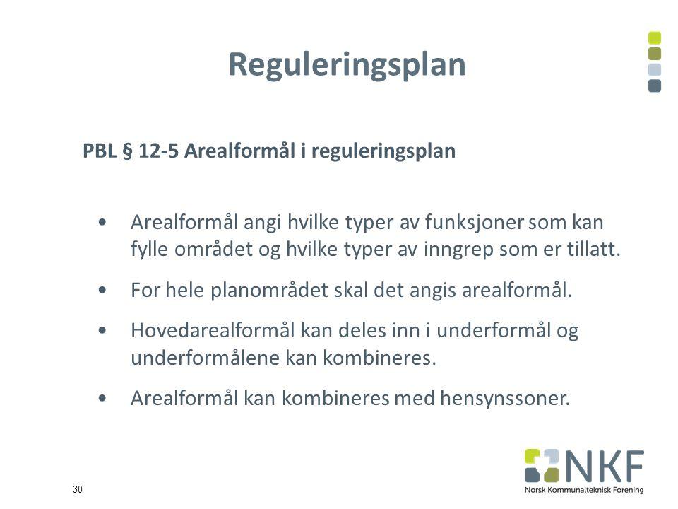 30 Reguleringsplan PBL § 12-5 Arealformål i reguleringsplan Arealformål angi hvilke typer av funksjoner som kan fylle området og hvilke typer av inngrep som er tillatt.