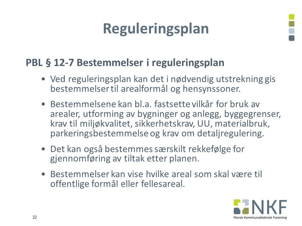 32 Reguleringsplan PBL § 12-7 Bestemmelser i reguleringsplan Ved reguleringsplan kan det i nødvendig utstrekning gis bestemmelser til arealformål og hensynssoner.