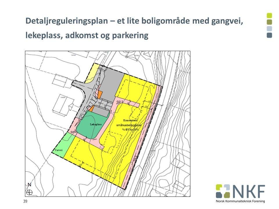 39 Detaljreguleringsplan – et lite boligområde med gangvei, lekeplass, adkomst og parkering