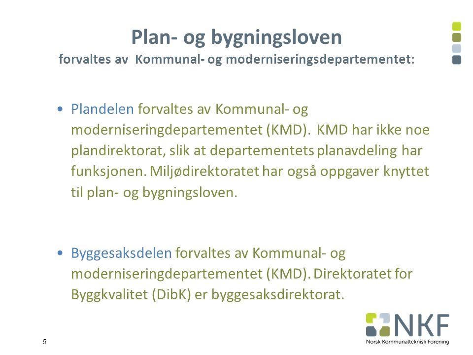 5 Plan- og bygningsloven forvaltes av Kommunal- og moderniseringsdepartementet: Plandelen forvaltes av Kommunal- og moderniseringdepartementet (KMD).