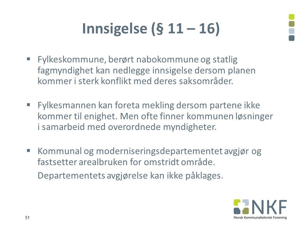 51 Innsigelse (§ 11 – 16)  Fylkeskommune, berørt nabokommune og statlig fagmyndighet kan nedlegge innsigelse dersom planen kommer i sterk konflikt med deres saksområder.