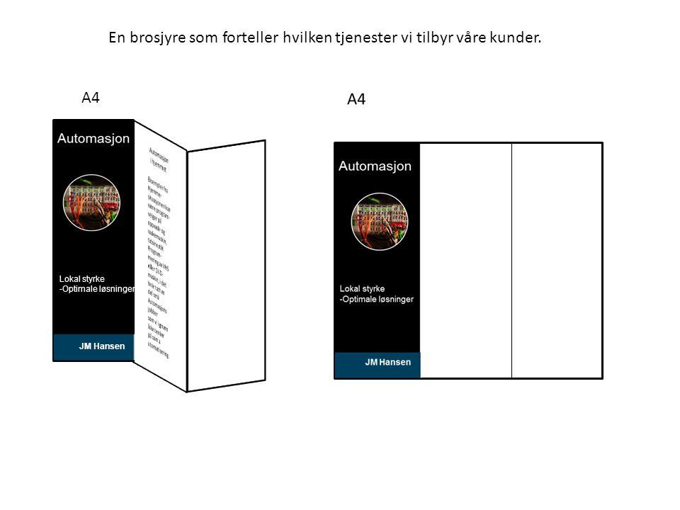 A4 En brosjyre som forteller hvilken tjenester vi tilbyr våre kunder.