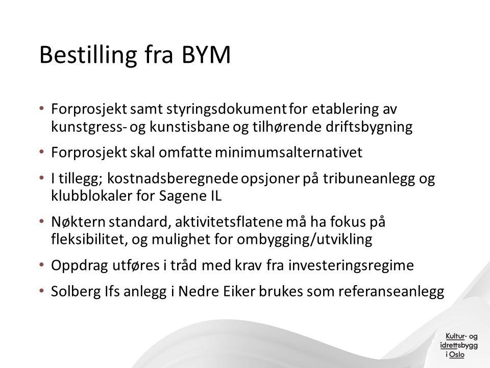 Bestilling fra BYM Forprosjekt samt styringsdokument for etablering av kunstgress- og kunstisbane og tilhørende driftsbygning Forprosjekt skal omfatte
