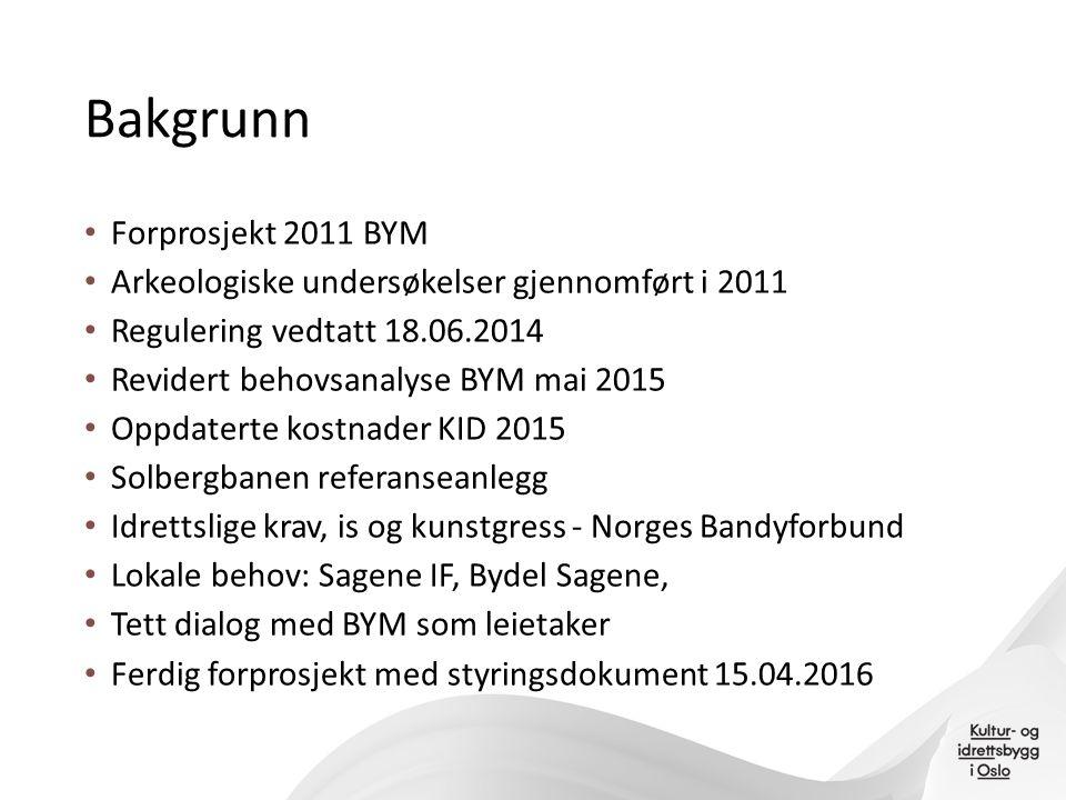 Bakgrunn Forprosjekt 2011 BYM Arkeologiske undersøkelser gjennomført i 2011 Regulering vedtatt 18.06.2014 Revidert behovsanalyse BYM mai 2015 Oppdater