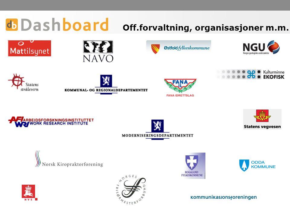 Off.forvaltning, organisasjoner m.m.