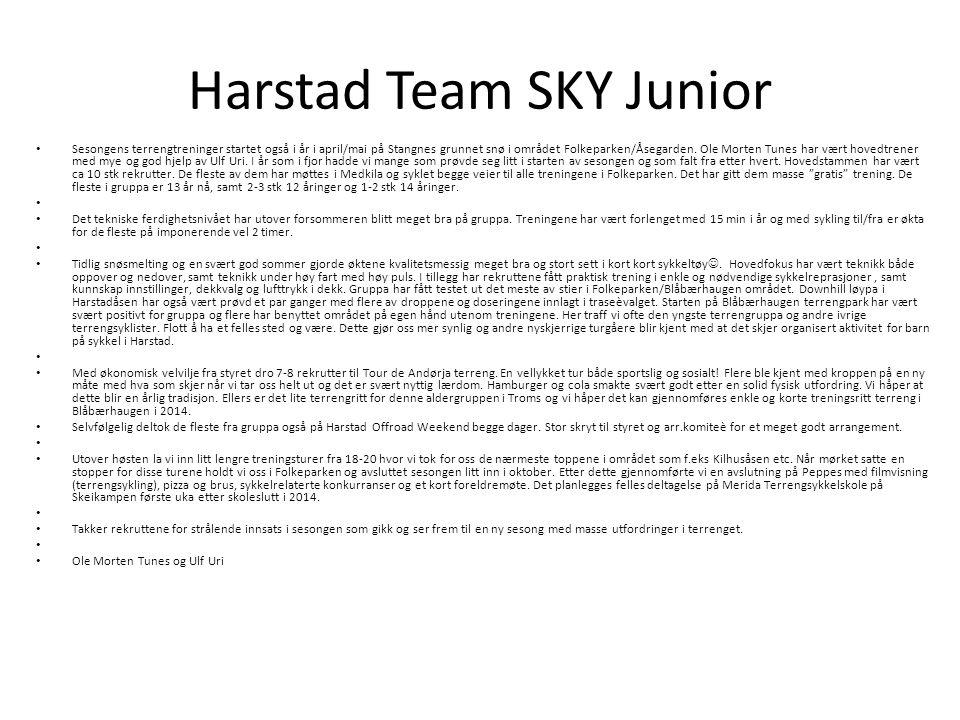 Harstad Team SKY Junior Sesongens terrengtreninger startet også i år i april/mai på Stangnes grunnet snø i området Folkeparken/Åsegarden.
