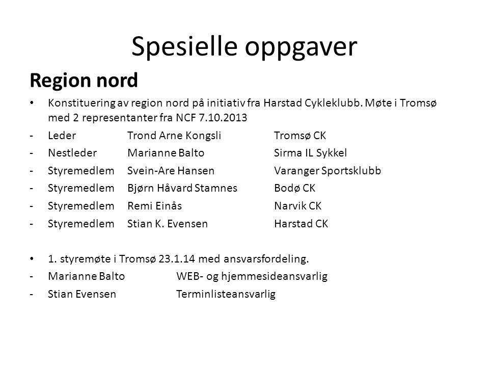 Spesielle oppgaver Region nord Konstituering av region nord på initiativ fra Harstad Cykleklubb.