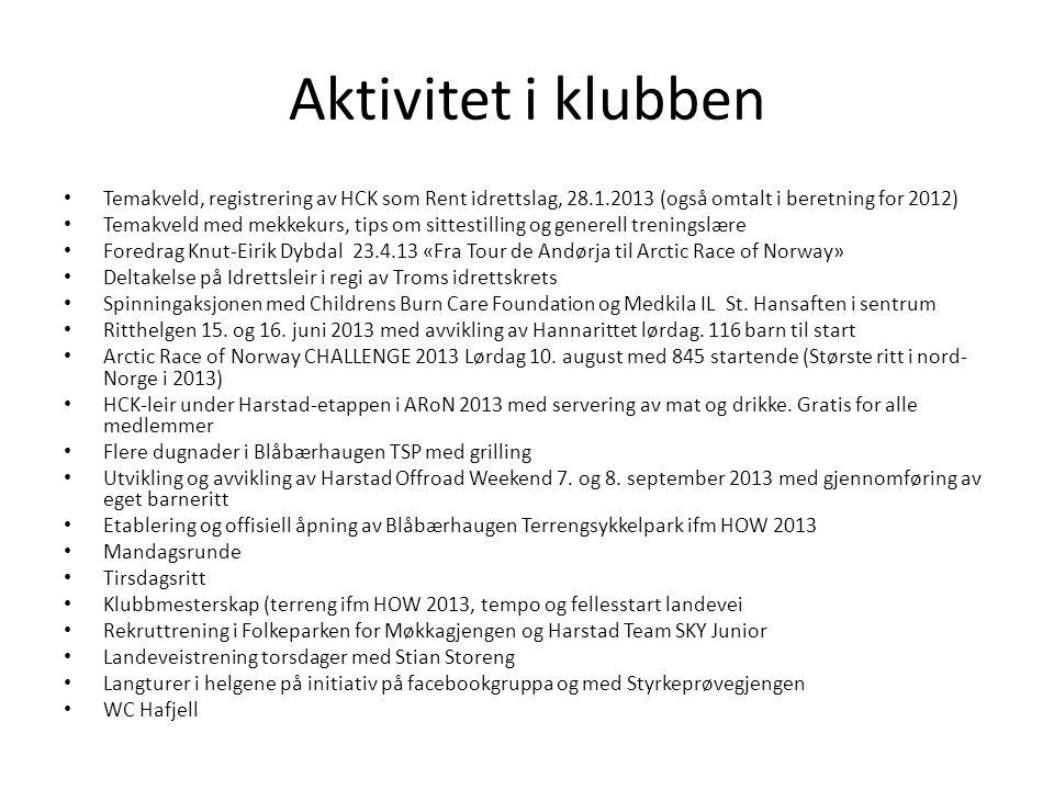 Vurdering av aktivitet ift målsetning Målsetning 2013 -------Organisasjon------- Harstad Cykleklubb skal være en sykkelklubb der alle skal føle seg velkommen.
