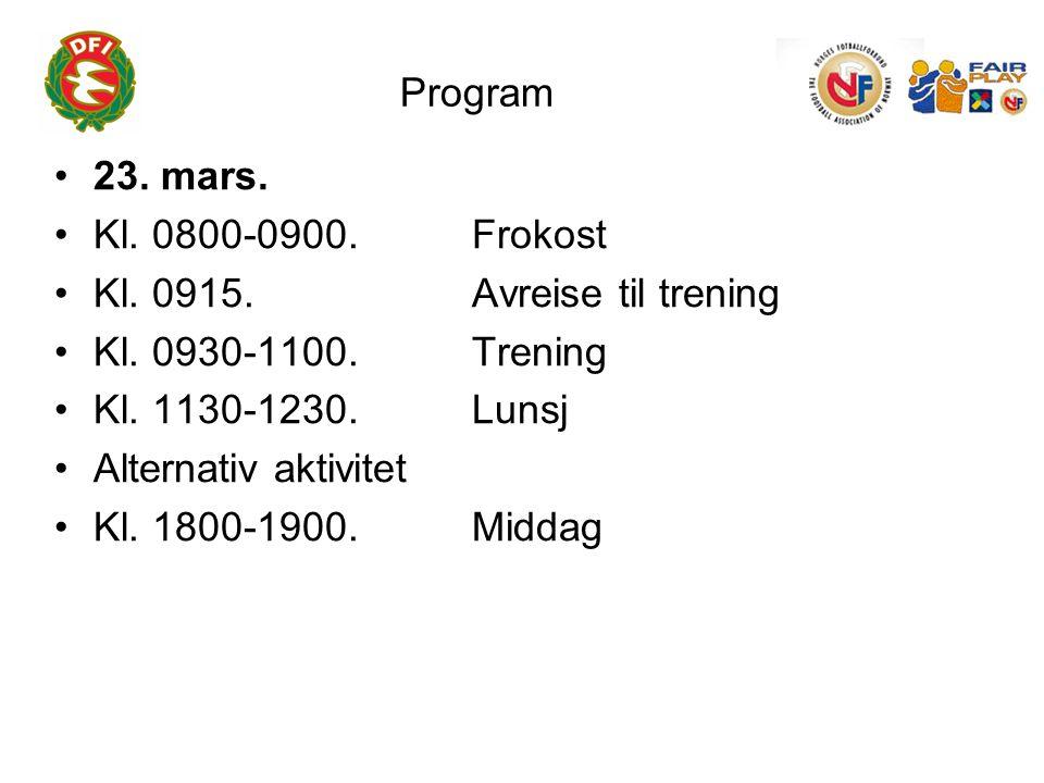 Program 23. mars. Kl. 0800-0900. Frokost Kl. 0915.