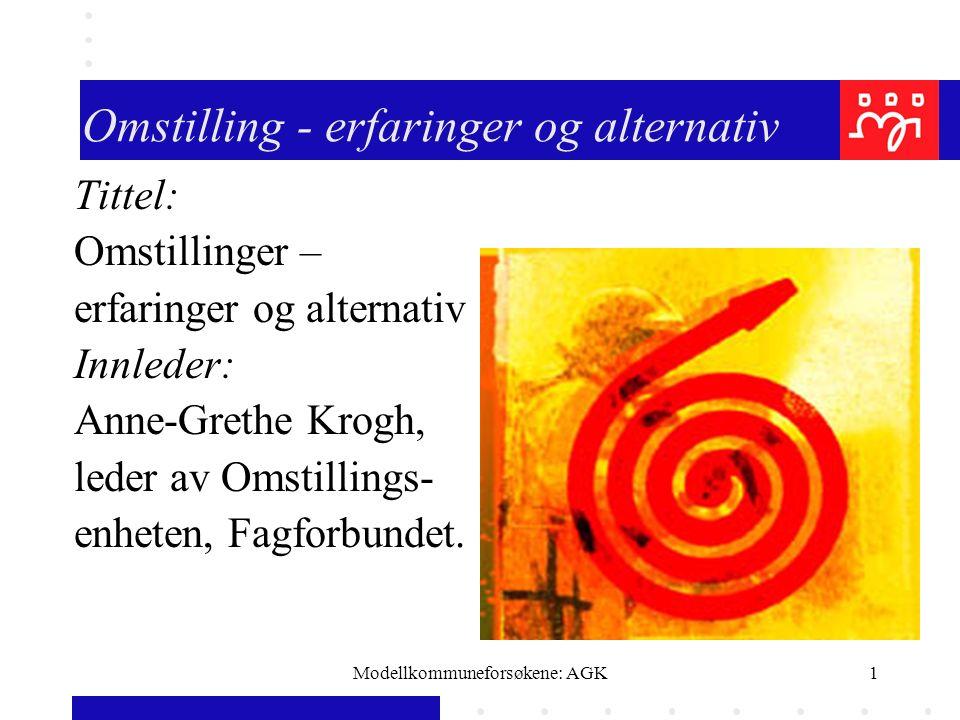 Modellkommuneforsøkene: AGK1 Omstilling - erfaringer og alternativ Tittel: Omstillinger – erfaringer og alternativ Innleder: Anne-Grethe Krogh, leder av Omstillings- enheten, Fagforbundet.