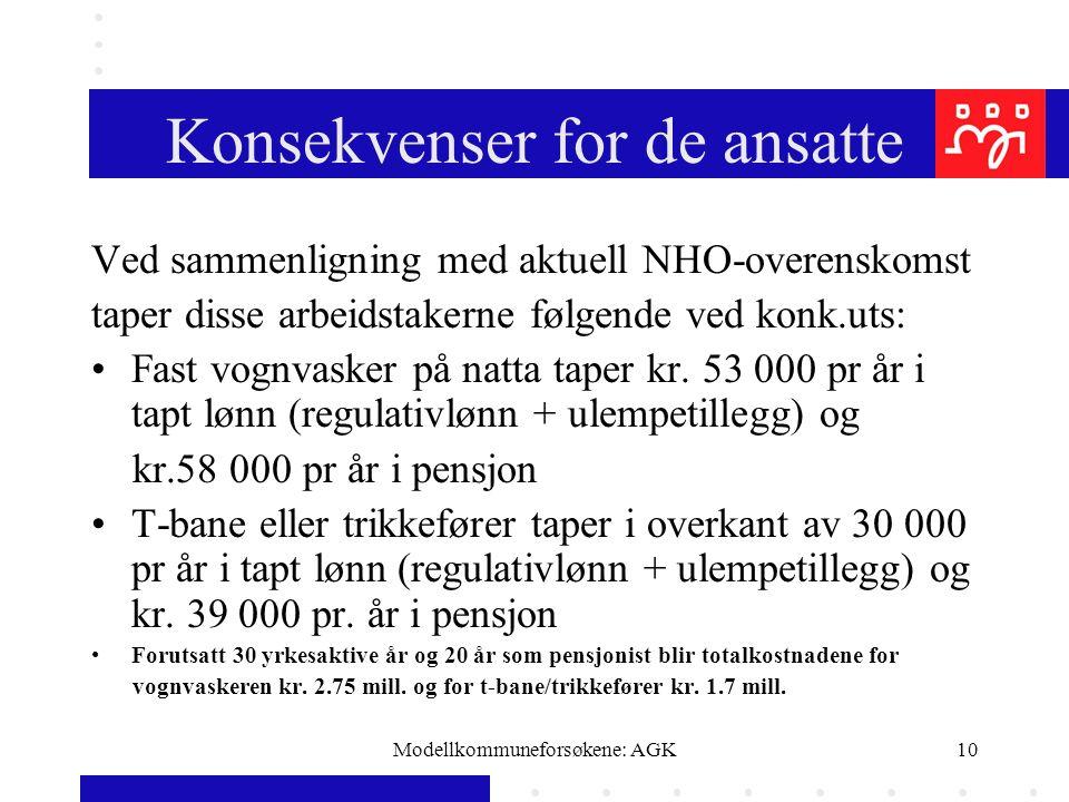 Modellkommuneforsøkene: AGK10 Konsekvenser for de ansatte Ved sammenligning med aktuell NHO-overenskomst taper disse arbeidstakerne følgende ved konk.uts: Fast vognvasker på natta taper kr.