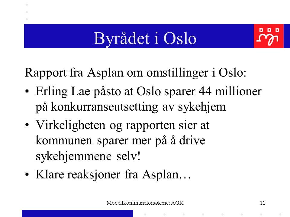 Modellkommuneforsøkene: AGK11 Byrådet i Oslo Rapport fra Asplan om omstillinger i Oslo: Erling Lae påsto at Oslo sparer 44 millioner på konkurranseutsetting av sykehjem Virkeligheten og rapporten sier at kommunen sparer mer på å drive sykehjemmene selv.
