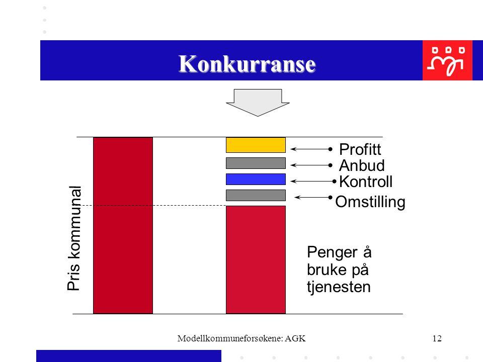 Modellkommuneforsøkene: AGK12 Pris kommunal Profitt Anbud Kontroll Omstilling Penger å bruke på tjenesten Konkurranse