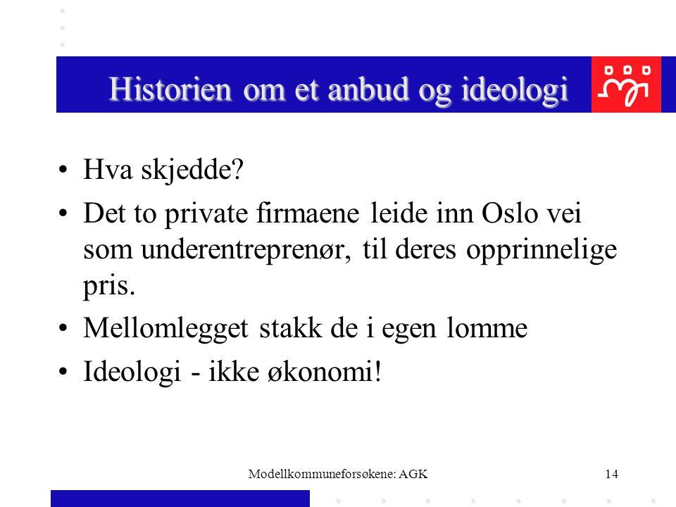 Modellkommuneforsøkene: AGK14 Historien om et anbud og ideologi Hva skjedde? Det to private firmaene leide inn Oslo vei som underentreprenør, til dere