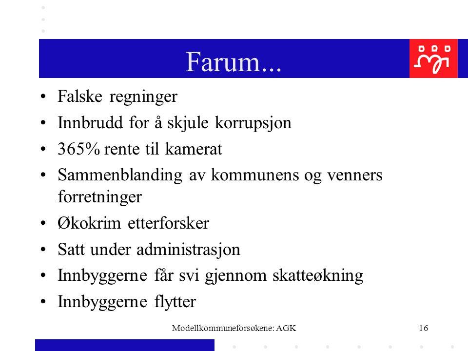 Modellkommuneforsøkene: AGK16 Farum... Falske regninger Innbrudd for å skjule korrupsjon 365% rente til kamerat Sammenblanding av kommunens og venners