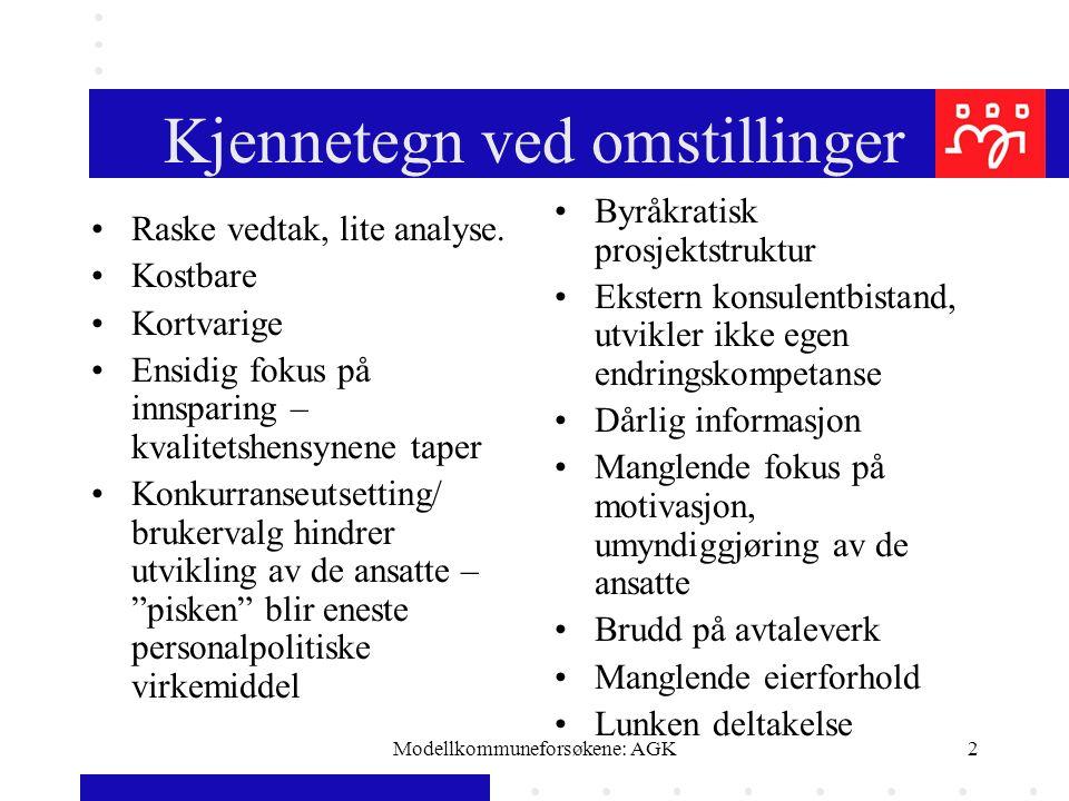 Modellkommuneforsøkene: AGK2 Kjennetegn ved omstillinger Raske vedtak, lite analyse. Kostbare Kortvarige Ensidig fokus på innsparing – kvalitetshensyn
