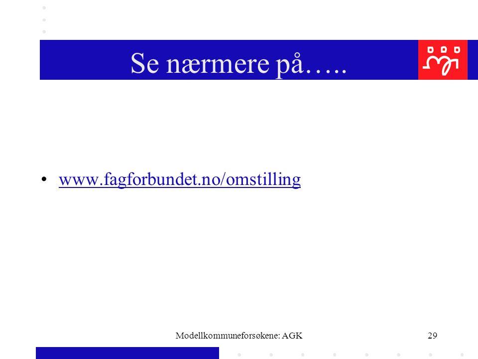 Modellkommuneforsøkene: AGK29 Se nærmere på….. www.fagforbundet.no/omstilling