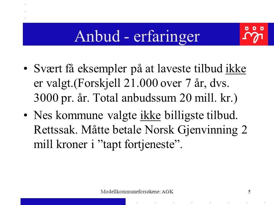Modellkommuneforsøkene: AGK5 Anbud - erfaringer Svært få eksempler på at laveste tilbud ikke er valgt.(Forskjell 21.000 over 7 år, dvs. 3000 pr. år. T