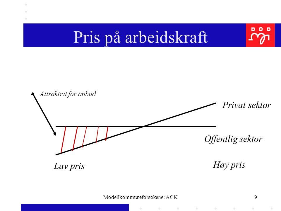 Modellkommuneforsøkene: AGK9 Pris på arbeidskraft Privat sektor Offentlig sektor Lav pris Høy pris Attraktivt for anbud
