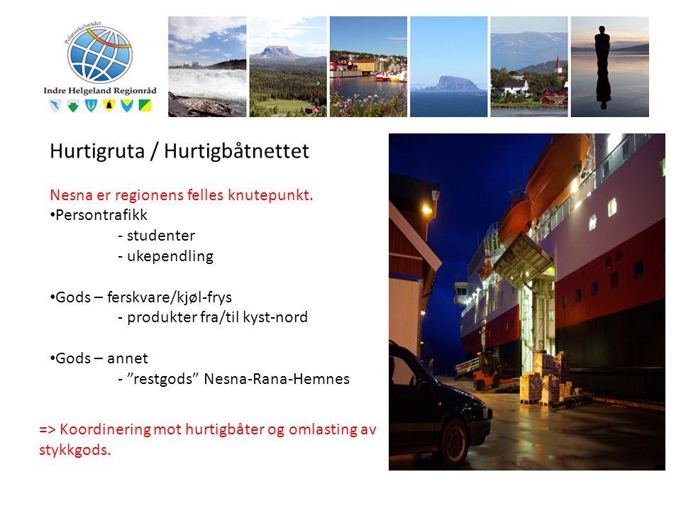 Hurtigruta / Hurtigbåtnettet Nesna er regionens felles knutepunkt. Persontrafikk - studenter - ukependling Gods – ferskvare/kjøl-frys - produkter fra/