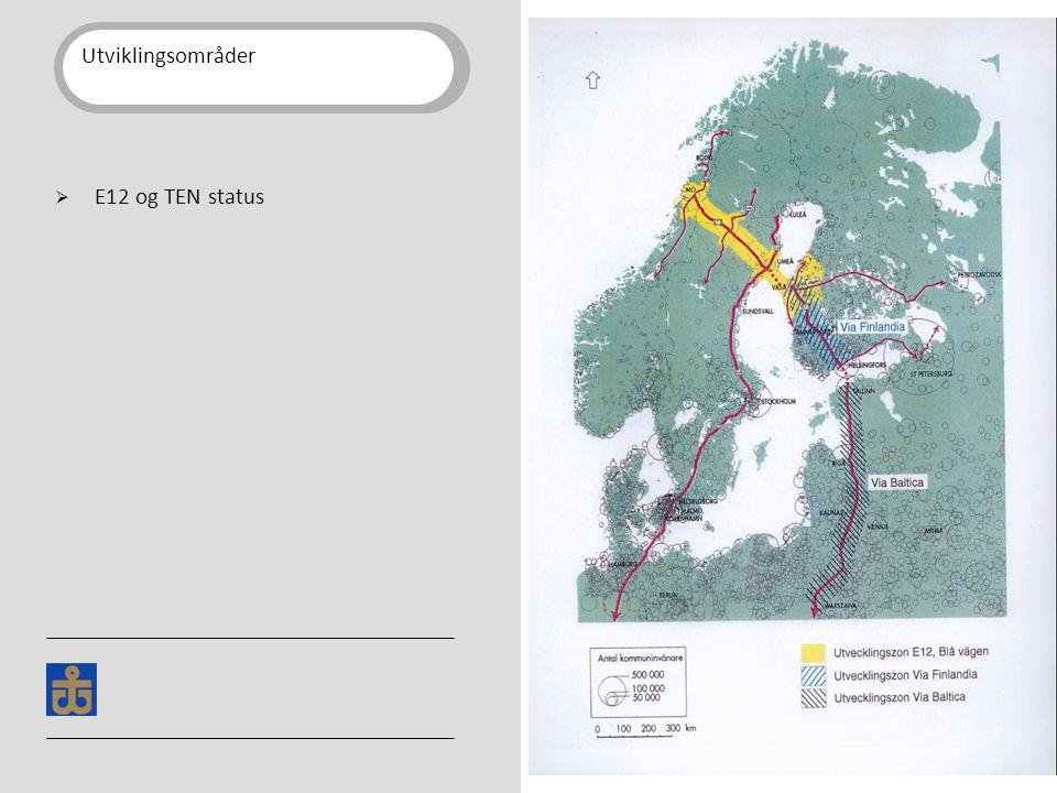 Utviklingsområder  E12 og TEN status