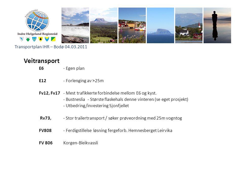 Transportplan IHR – Bodø 04.03.2011 Veitransport E6 - Egen plan E12- Forlenging av >25m Fv12, Fv17- Mest trafikkerte forbindelse mellom E6 og kyst. -
