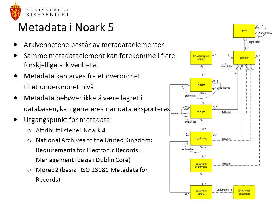 28 Metadata i Noark 5  Arkivenhetene består av metadataelementer  Samme metadataelement kan forekomme i flere forskjellige arkivenheter  Metadata kan arves fra et overordnet til et underordnet nivå  Metadata behøver ikke å være lagret i databasen, kan genereres når data eksporteres  Utgangspunkt for metadata: o Attributtlistene i Noark 4 o National Archives of the United Kingdom: Requirements for Electronic Records Management (basis i Dublin Core) o Moreq2 (basis i ISO 23081 Metadata for Records)