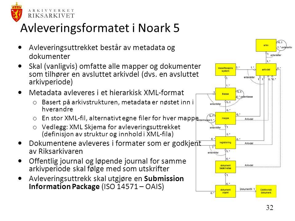 32 Avleveringsformatet i Noark 5  Avleveringsuttrekket består av metadata og dokumenter  Skal (vanligvis) omfatte alle mapper og dokumenter som tilhører en avsluttet arkivdel (dvs.