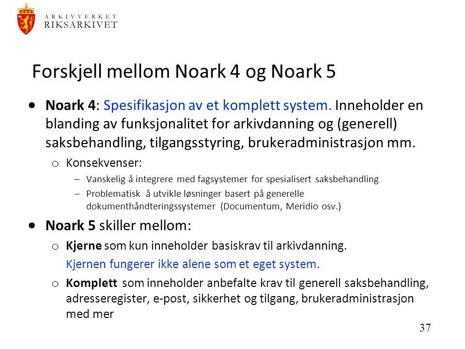 37 Forskjell mellom Noark 4 og Noark 5  Noark 4: Spesifikasjon av et komplett system.