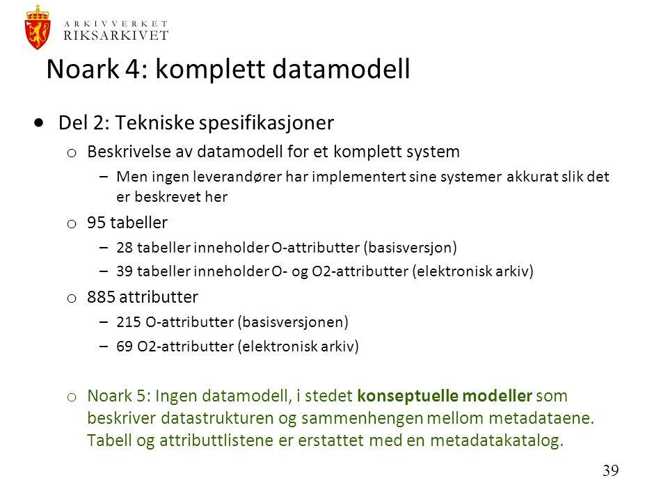 39 Noark 4: komplett datamodell  Del 2: Tekniske spesifikasjoner o Beskrivelse av datamodell for et komplett system –Men ingen leverandører har implementert sine systemer akkurat slik det er beskrevet her o 95 tabeller –28 tabeller inneholder O-attributter (basisversjon) –39 tabeller inneholder O- og O2-attributter (elektronisk arkiv) o 885 attributter –215 O-attributter (basisversjonen) –69 O2-attributter (elektronisk arkiv) o Noark 5: Ingen datamodell, i stedet konseptuelle modeller som beskriver datastrukturen og sammenhengen mellom metadataene.