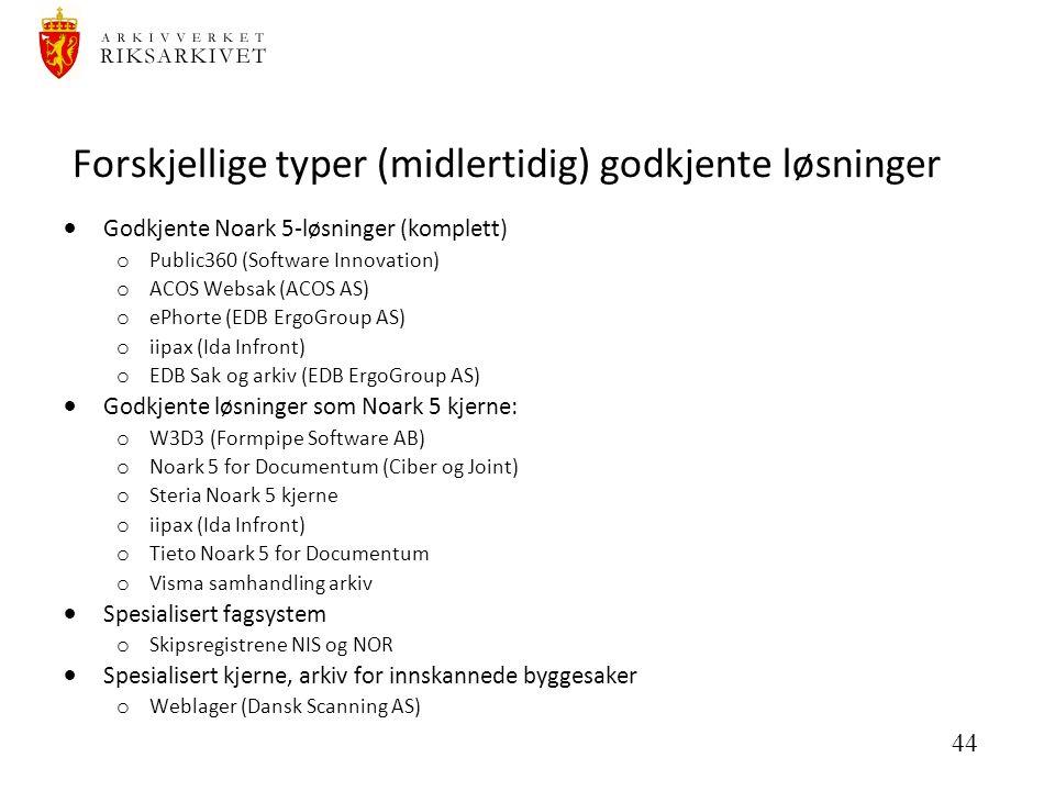 44 Forskjellige typer (midlertidig) godkjente løsninger  Godkjente Noark 5-løsninger (komplett) o Public360 (Software Innovation) o ACOS Websak (ACOS AS) o ePhorte (EDB ErgoGroup AS) o iipax (Ida Infront) o EDB Sak og arkiv (EDB ErgoGroup AS)  Godkjente løsninger som Noark 5 kjerne: o W3D3 (Formpipe Software AB) o Noark 5 for Documentum (Ciber og Joint) o Steria Noark 5 kjerne o iipax (Ida Infront) o Tieto Noark 5 for Documentum o Visma samhandling arkiv  Spesialisert fagsystem o Skipsregistrene NIS og NOR  Spesialisert kjerne, arkiv for innskannede byggesaker o Weblager (Dansk Scanning AS)