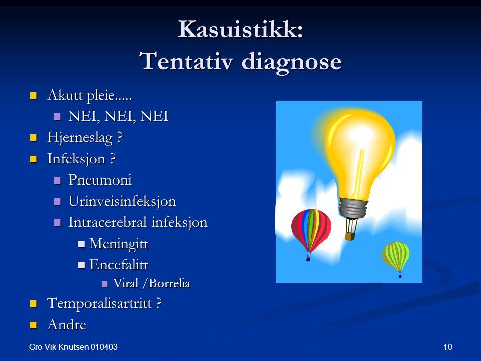 Gro Vik Knutsen 010403 10 Kasuistikk: Tentativ diagnose Akutt pleie..... Akutt pleie..... NEI, NEI, NEI NEI, NEI, NEI Hjerneslag ? Hjerneslag ? Infeks
