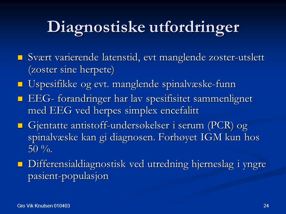 Gro Vik Knutsen 010403 24 Diagnostiske utfordringer Svært varierende latenstid, evt manglende zoster-utslett (zoster sine herpete) Svært varierende latenstid, evt manglende zoster-utslett (zoster sine herpete) Uspesifikke og evt.