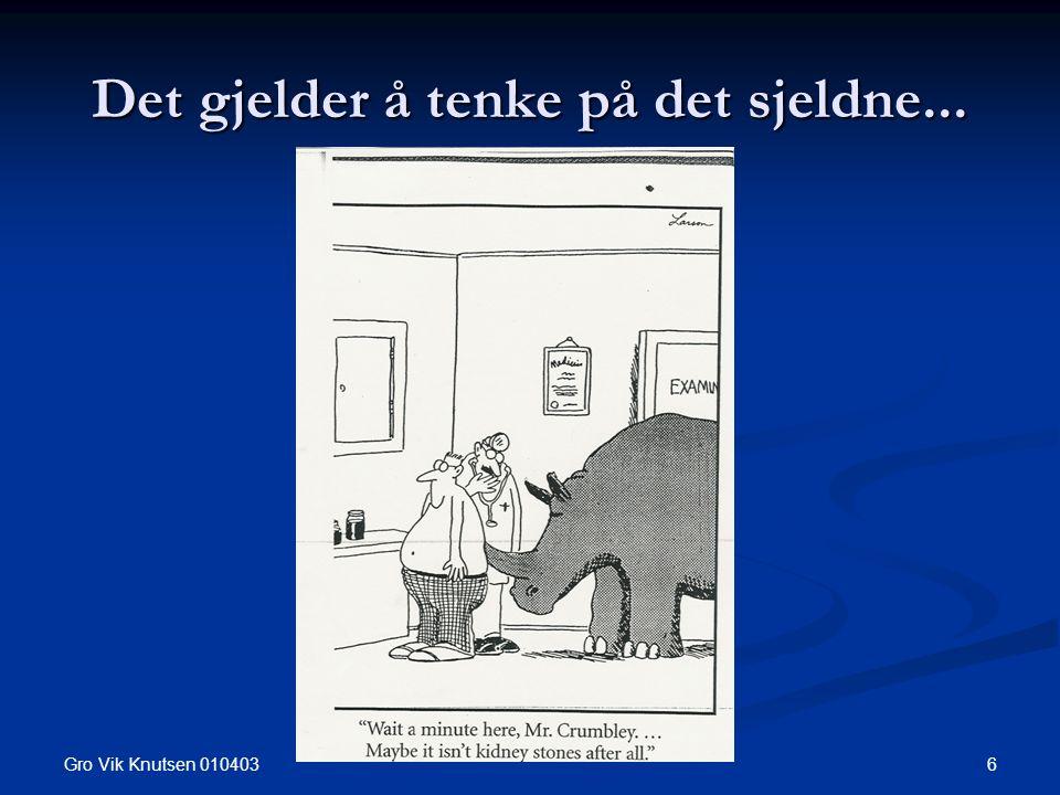 Gro Vik Knutsen 010403 6 Det gjelder å tenke på det sjeldne...