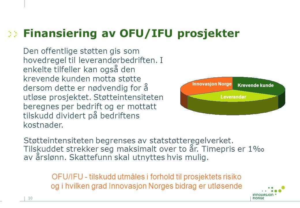 10 Finansiering av OFU/IFU prosjekter Den offentlige støtten gis som hovedregel til leverandørbedriften.