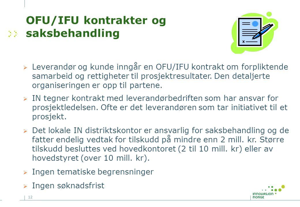 12 OFU/IFU kontrakter og saksbehandling  Leverandør og kunde inngår en OFU/IFU kontrakt om forpliktende samarbeid og rettigheter til prosjektresultater.