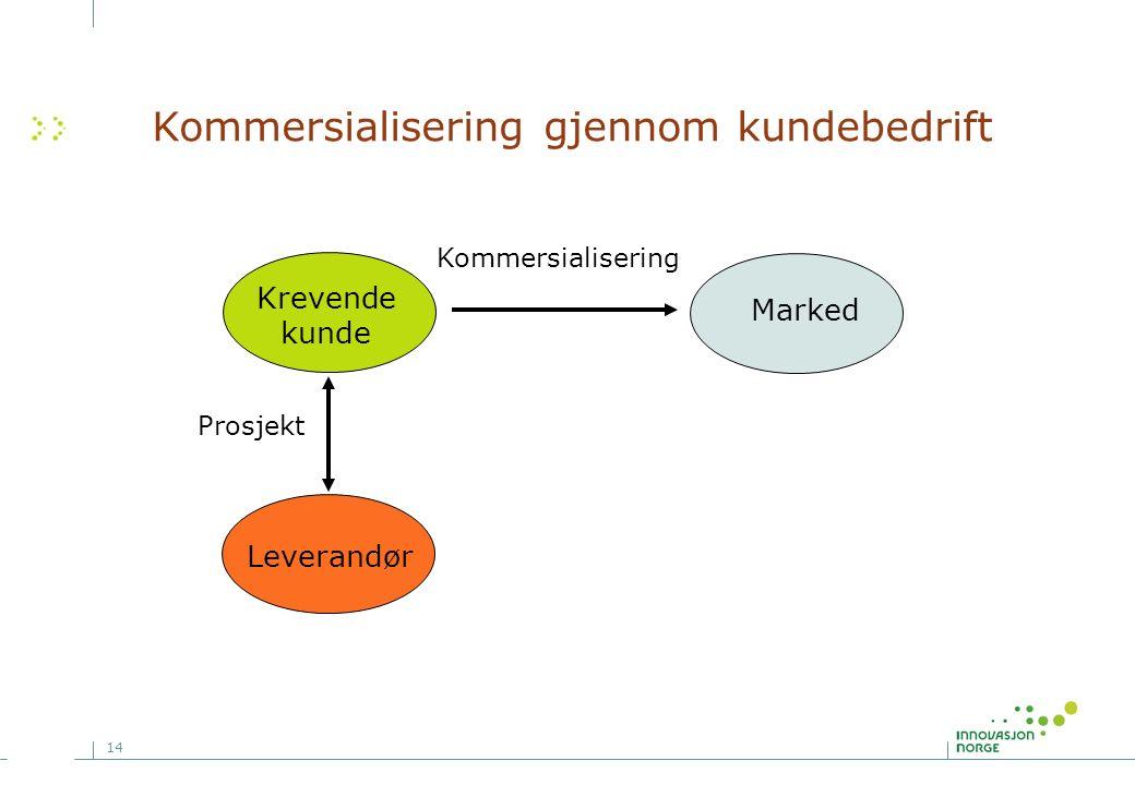 14 Kommersialisering gjennom kundebedrift Leverandør Krevende kunde Marked Prosjekt Kommersialisering