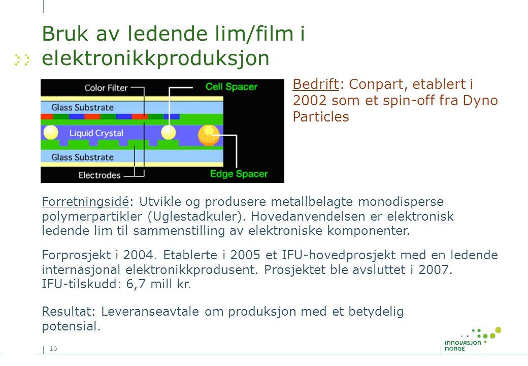 16 Bruk av ledende lim/film i elektronikkproduksjon Forprosjekt i 2004.